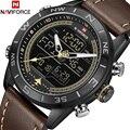 NAVIFORCE Luxus Marke Männer Sport Quarzuhr männer Echte Leder Wasserdicht Handgelenk Uhren Männlichen Mode Datum Woche LED Uhr