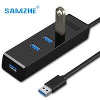 SAMZHE 4 포트 USB 3.0 허브 휴대용 USB 3.0 스플리터 어댑터 노트북, 맥북, 울트라 북, 컴퓨터, PC 추가 전원