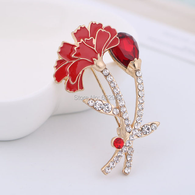 Online Shop Elegant Red Carnation Pin Brooch Bouquet Rhinestone ...