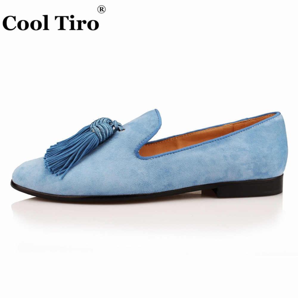 Raffreddare Tiro Sky Blue Suede uomo Mocassini Mocassini Nappe Pantofole Banchetto e prom Abito Scarpe di Cuoio Genuini degli uomini Scarpa Casual