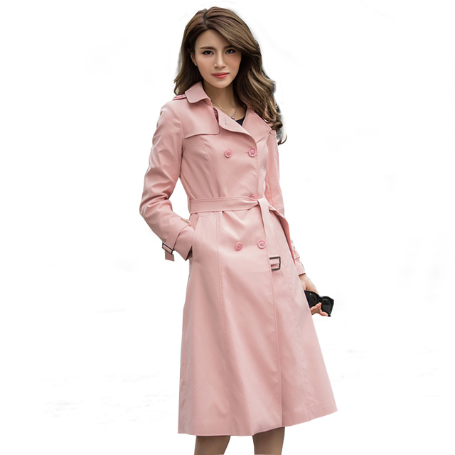 ROSELUOSI Women Long Pink Trench Coats 2016 Autumn New Arrival Double Breasted Casual Overcoat With Belt Casaco Feminino RS086