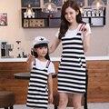Familia traje a juego conjunto de bandas vestido de madre e hija madre e hija de la familia de algodón vestidos ropa family clothing sets wl91