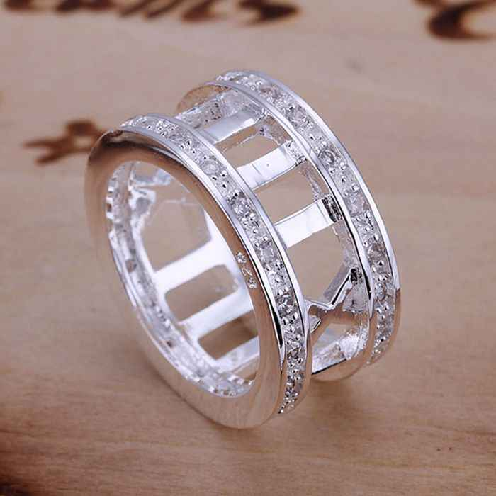 wholesale fine silver plated ring silver plated jewelry fashion rhinestone Roman rings for women/men