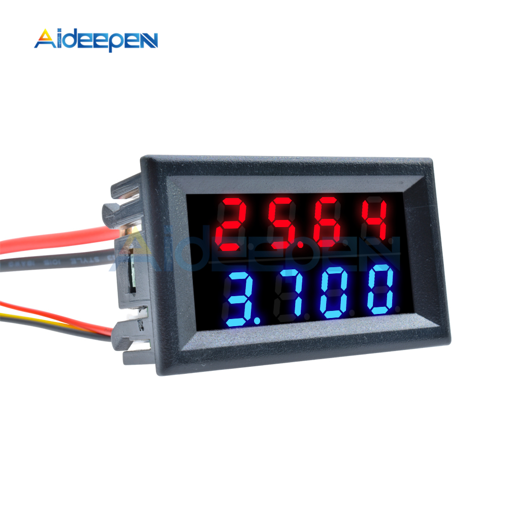 0 28 Inch Digital DC Voltmeter Ammeter 4 Bit 5 Wires DC 100V 10A Voltage Current Meter Current Monitor Red Blue LED Dual Display in Voltage Meters from Tools