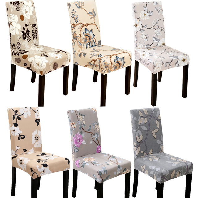 Flower Leaves Printing Spandex Elastic Chair Protective Slipcover Stretch Dining  Chair Seat Cover Case For Banquet