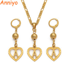 Anniyo A to Z Beads Heart Letters Necklace Initial for Women Girls Alphabet Pendant English Letter Jewelry #101306S(China)