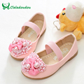 Claladoudou Shoes For Girls White Princess Pink Shoes Round Leather Kids Girl Part Formal Shoe With Heart Flower Dance Shoes