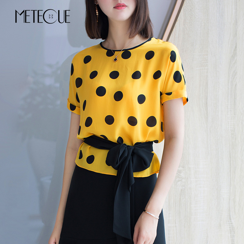 Casual Polka Dot Print Waist With Lace Up 100 Silk O Neck Blouse Women Short Sleeve