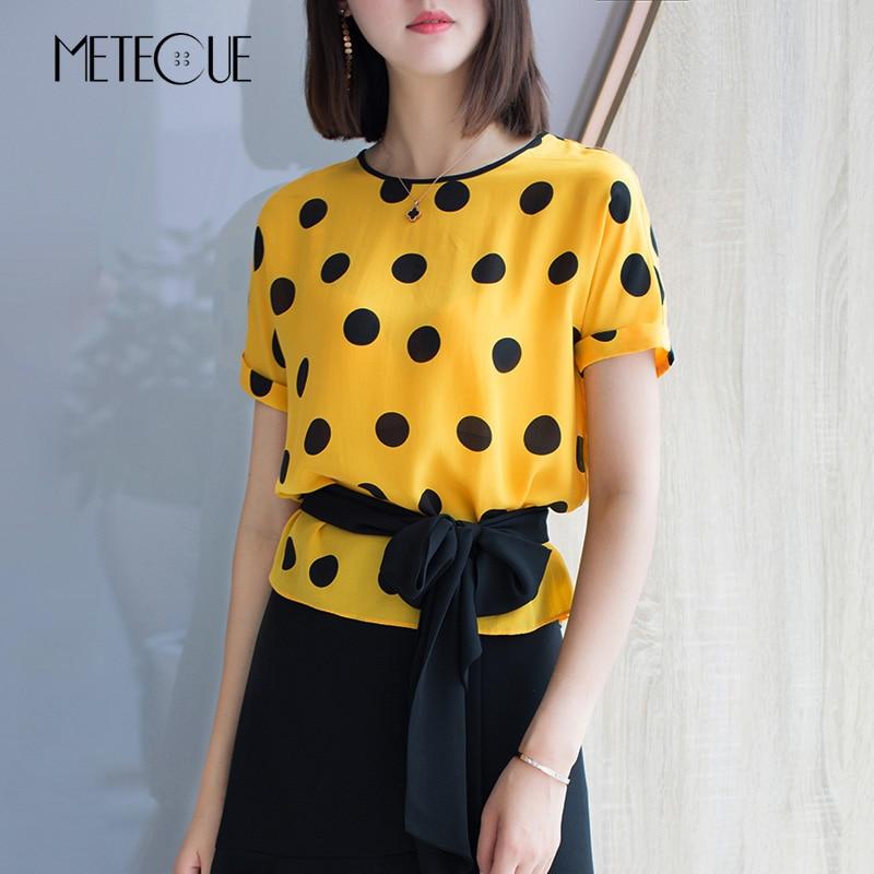 Женская блузка в горошек, Повседневная летняя блузка из 100% шелка с коротким рукавом и принтом на талии