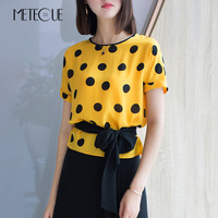 Casual Polka Dot Print Waist With Lace Up 100% Silk O Neck Blouse Women Short Sleeve Womens Tops And Blouses Shirt Summer 2018