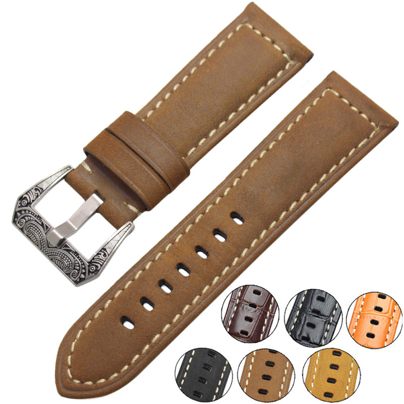 Italy Genuine Leather Watch Band Straps 22mm 24mm Thick Handmade Soft Watchbands Belt With Retro Steel Buckle for Panerai handmade retro genuine leather watchbands for panerai 22mm 24mm men watch band strap metal buckle relogio accessories wristband