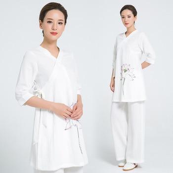 Custom 4 Colors Linen thicken Wudang Taoist Robe Style Tai Chi Suit Shaolin Kung fu Uniform Wing Chun Martial arts Clothes