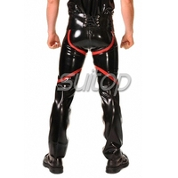 Suitop latex chaps latex trousers with inside zip for men