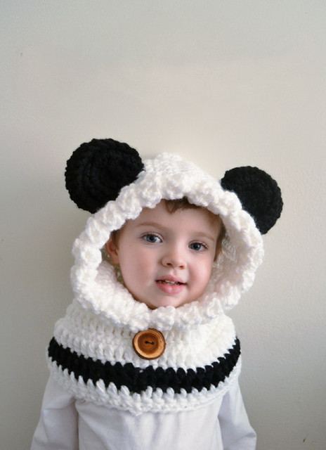 67adaa03ccc Children s Panda Bear Hat - baby Panda Bear Hoodie - adult Panda Bear Cowl  - Animal Hat - Hooded Scarf - Chunky Crochet Hat