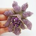 Estilo Vintage roxo pedrinhas cristal flor da orquídea broche Pin moda mulher broche de flor grátis frete