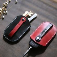 עור אמיתי אישית מתנה בעבודת יד בציר מכונית מפתח מחזיק תיק ארנקי משלוח חריטה Keychain פאוץ ארנק תיק 010