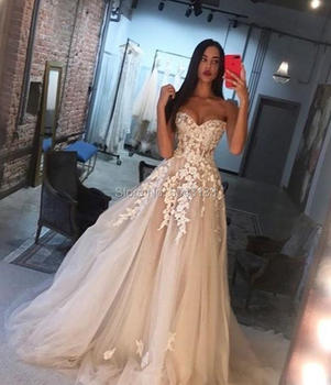 Charming Champagne Wedding Dresses with Ivory Appliques A Line Sweetheart Off the Shoulder Lace Corset Back Vestide Brides Gowns