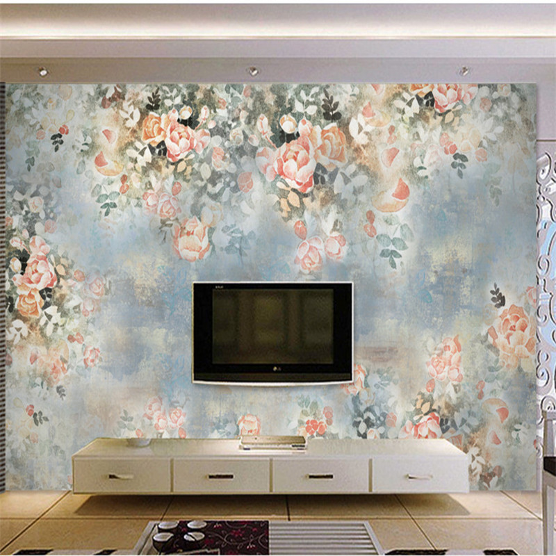 Hand-painted Murals Flowers Plants Wallpapers Vintage Oil Painting American Country Style Wallpapers for Living Room Background hua tuo landscapes hand painted oil painting