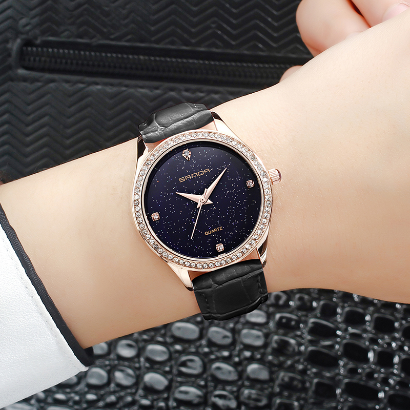 SANDA Simple Wrist Watch Women Watches Ladies Luxury Brand Diamonds Quartz Wristwatch Female Clock Relogio Feminino Montre Femme sanda gold diamond quartz watch women ladies famous brand luxury golden wrist watch female clock montre femme relogio feminino