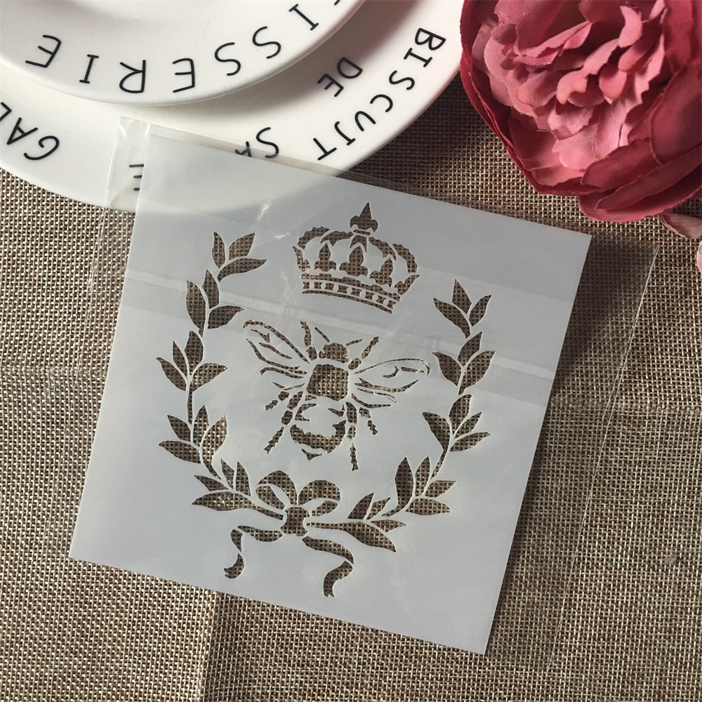 1Pcs 13cm Bee Crown DIY Layering Stencils Wall Painting Scrapbook Coloring Embossing Album Decorative Card Template