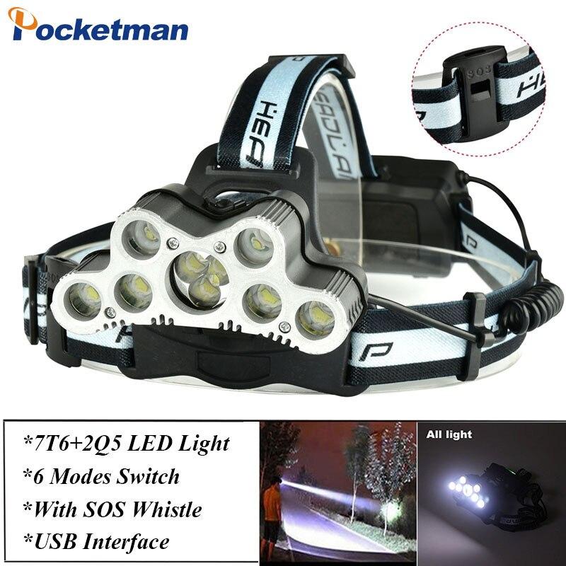 Super 45000LM USB 9 LED Led Scheinwerfer Scheinwerfer kopf taschenlampe XM-L T6 kopf lampe wiederaufladbare für 18650 batterie