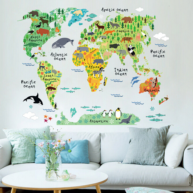 US $8.27 8% OFF|Children bedroom world map wall sticker for kids removable  3d cartoon wall decals for baby room-in Wall Stickers from Home & Garden on  ...