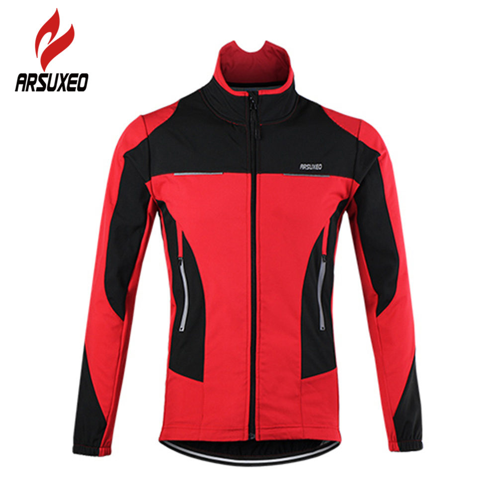 цена ARSUXEO Bicycle Sports Coat Thermal Fleece Cycling Jacket Windproof Warmer Bike Jacket Sport Cycling Jersey Clothing Jacket онлайн в 2017 году