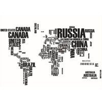 Black Letters World Map Removable Vinyl Decal Art Mural Wall Stickers