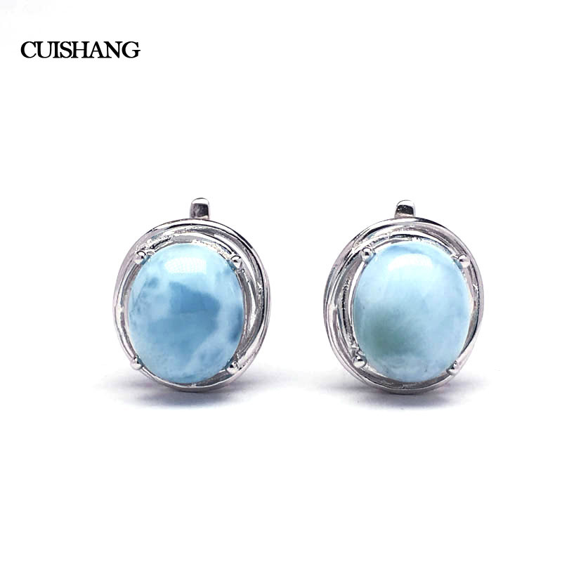 CSJ Larimar Earring Sterling 925 Silver Natural Blue Gemstone Fine Jewelry Wedding Engagement Bands for Women
