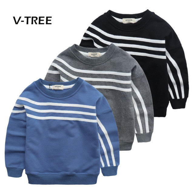 V-TREE baby clothes boys t shirt spring long sleeve boys sweatshirt striped kids boys tops tees cotton t shirt for boys 18M-6T