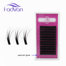 Extensiones de pestañas de visón de pelo sintético Natural Long D Curl Extensiones 0.07mm Kit de herramientas de maquillaje Bloom Flare False Eye Lashes Extension