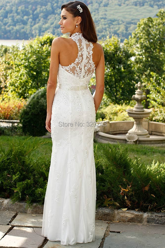 Fashion New Sheath Casual Lace Bridal Wedding Dresses High Neck Floor Length No Train Lk132 In From Weddings Events On Aliexpress