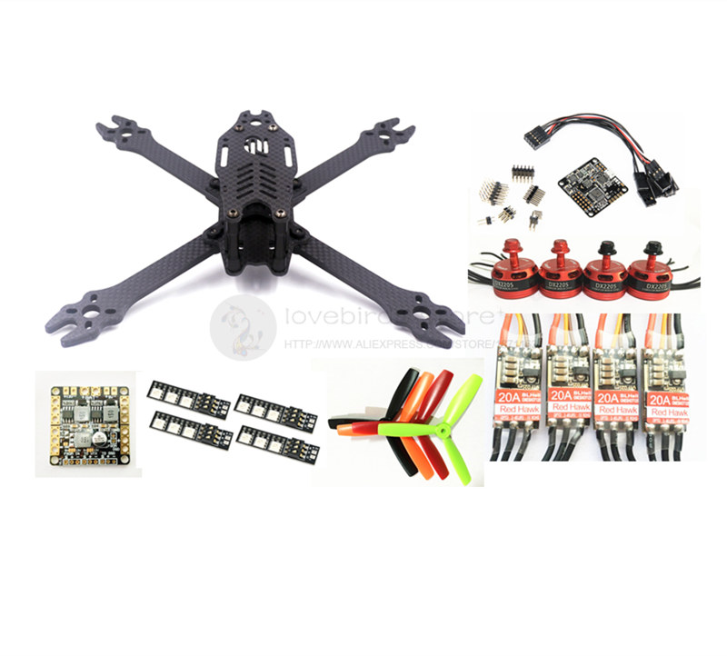 DIY FPV mini drone F2 mito 210 pure carbon frame kit Red hawk DX2205 2300KV +Red Hawk BL20A ESC OPTO + NAZE32 diy fpv mini drone qav180 zmr180 cross race quadcopter pure carbon frame kit naze32 10dof 1306 3100kv motor bl 6a esc opto