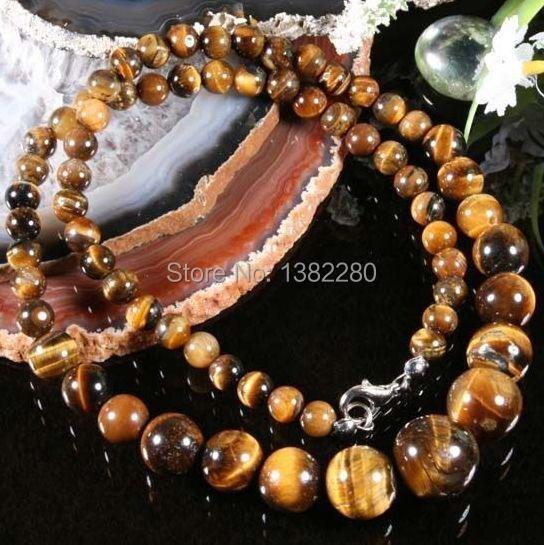 ! fashion DIY jewelry 6-14MM EANUINE TIEAR EYE Gems STONE ROUND BEADS NECKLACE 18