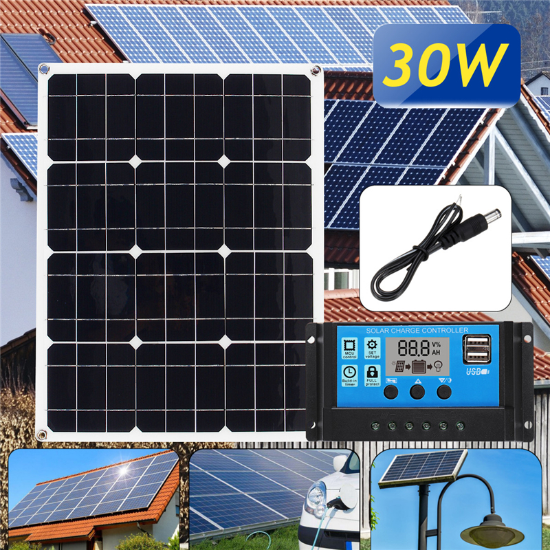 3in1 30W 12V/5V DC USB Solar Panel Kit Solar Power System Suit 20A PWM Multifunction Controller 30cm DC Cable