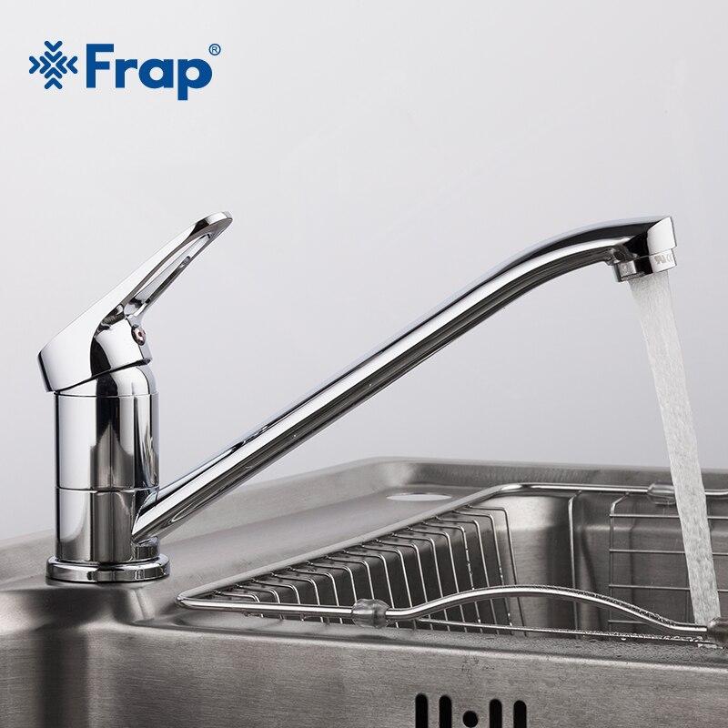 Frap nova chegada chrome torneira da pia cozinha misturador de água fria e quente único punho com nariz longo 4913