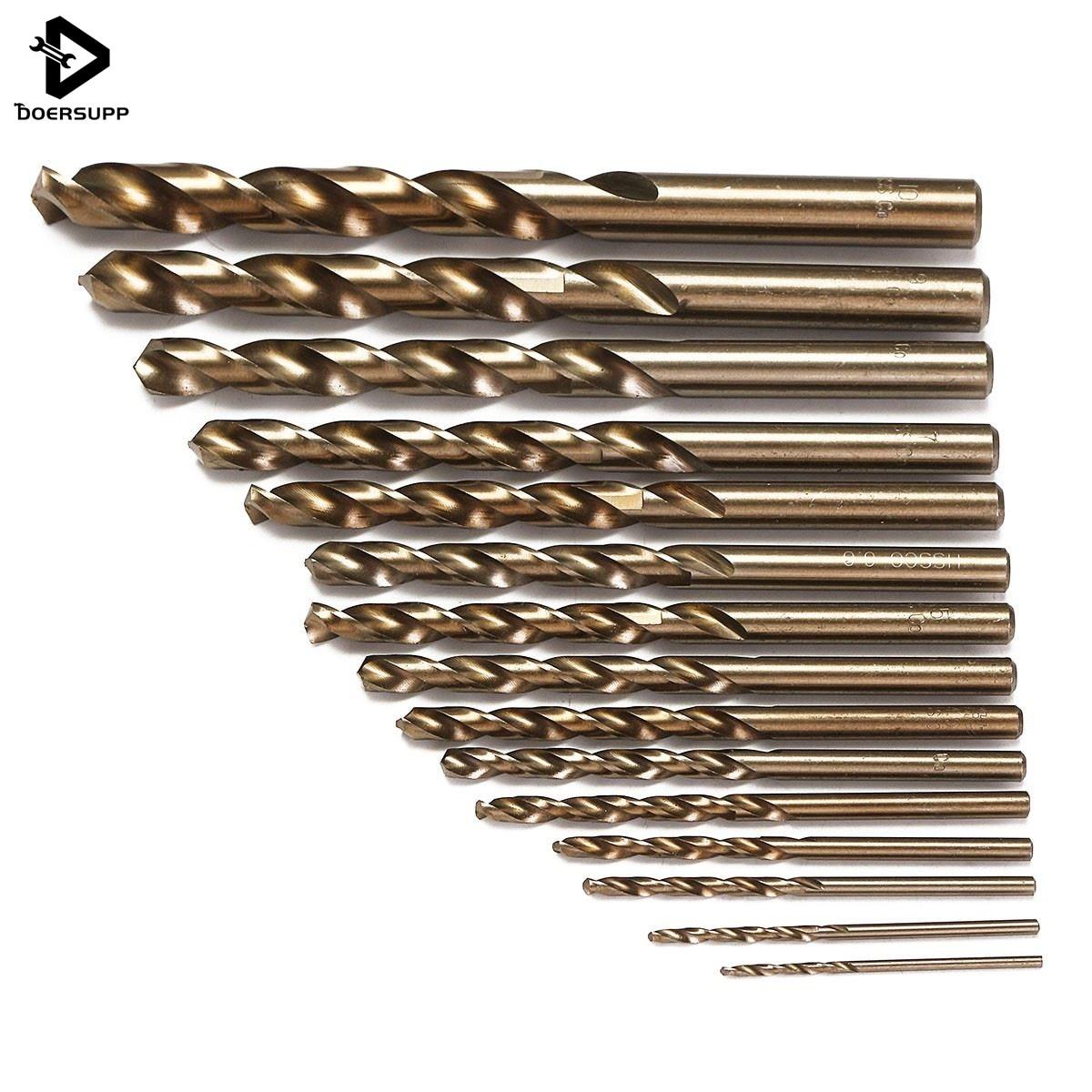 Doersupp 15 pcs/ensemble HSS-CO 1.5-10mm Haute Vitesse En Acier M35 Cobalt Torsion Foret 40-133mm longueur Bois Métal Forage Top Qualité