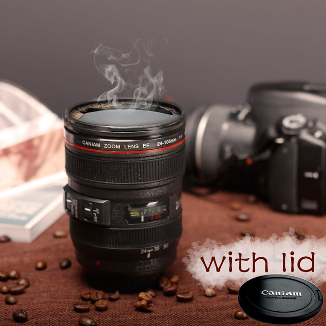 2019 New Coffee Lens Emulation Camera Mug Beer Mug Wine With Lid Black Plastic Cup Caniam Logo Mugs Cafe 400ml 1