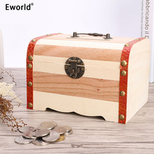 Eworld 4 Sizes New Vintage Jewelry Pearl Necklace Bracelet Wooden Treasure Chest Case Cute Piggy Bank Can Be Locked Storage Box