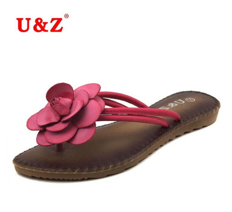 Female Trends Camellia Slippers Summer soft Flip Flops Sandals Lovely Sweet Real leather insole beautiful flowers