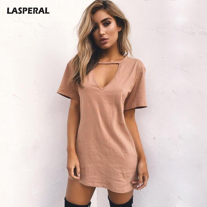 LASPERAL 2018 Sexy Scollo A V In Cotone Estate Abiti Donna Solid Casual Vestito Largo Donna A-Line Mini Abiti Plus Size 3XL