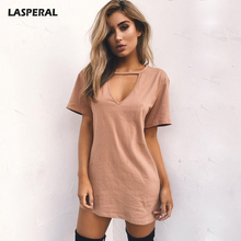 LASPERAL 2018 Sexy V Neck Cotton Summer Dresses Female Solid Casual Loose Dress Women A-Line Mini Vestidos Plus Size 3XL