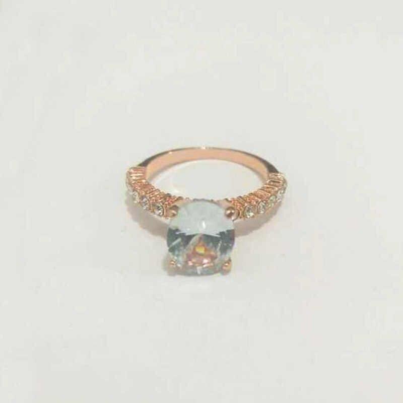 新着婚約シルバークリスタルユニークなローズゴールデン exquesite 花嫁ジルコン 1 pc パーティーホワイトジルコン石リング