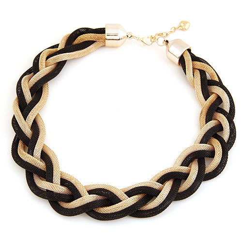 New 2016 High Quality Western Europe Bohemian style Punk Fashion Simple Metal braid Twist Chain Crude Necklace for women