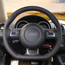 High quality Black Artificial Leather anti-slip customized car steering wheel cover For Audi TT 2008-2013 цена и фото