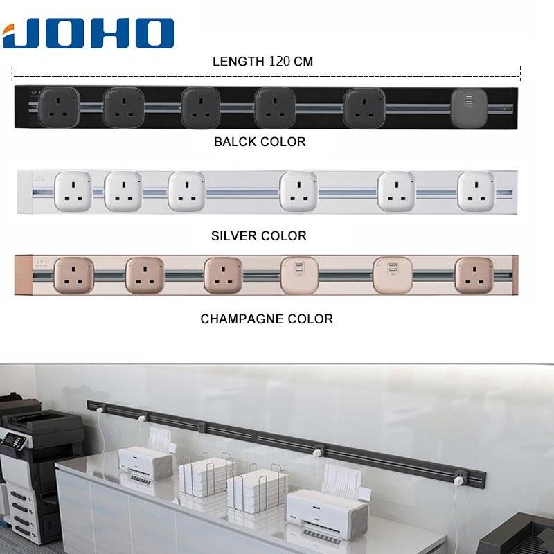 JOHO 120CM ue Standard prise de courant argent/noir/Champagne USB Port prise de courant panneau pour salon bureau 8000W 250V