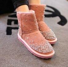 Handmade rhinestone gem girls's sneakers handmade boots snow boots sneakers girls's thickening thermal
