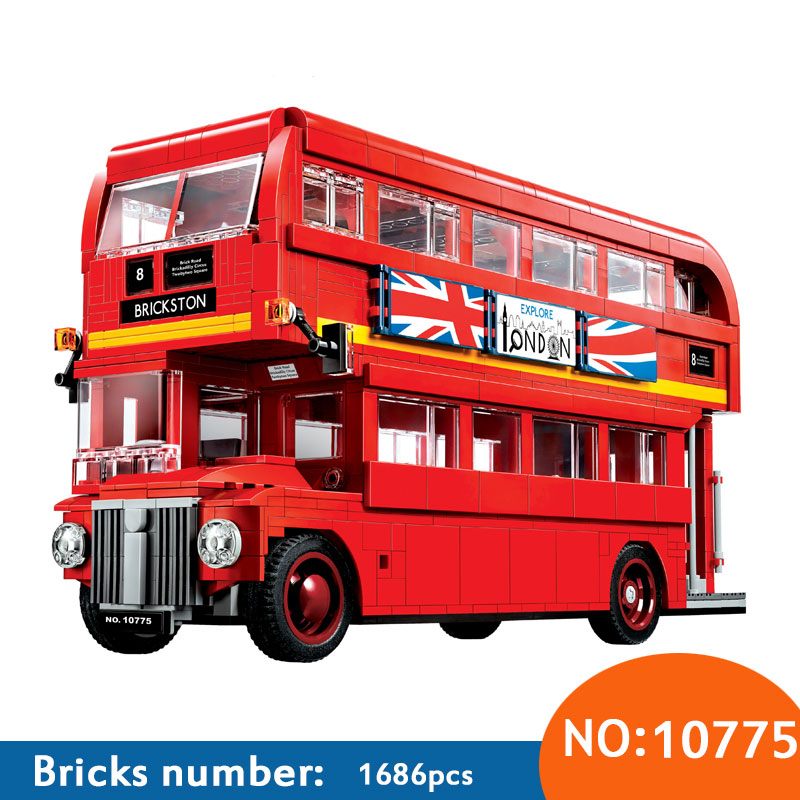 1686Pcs Technic Series London Bus Set Model Building Kits Blocks DIY Bricks Toy For Children Gift Compatible 10258 welly london bus 99930
