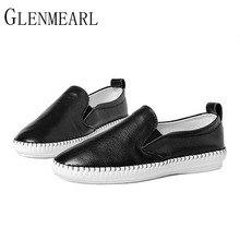 2019 本革の女性春の新作秋ブランド靴白黒怠惰な女性の靴プラスサイズ XP35