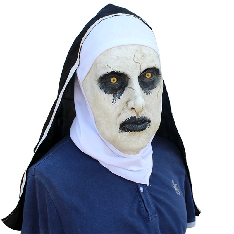 new The Nun Horror Mask Cosplay Valak Scary Latex Masks With Headscarf Full Face Helmet Halloween Party Props The Conjuring 2018 2